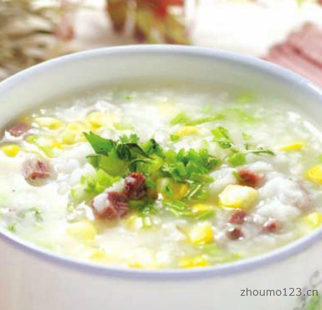 火腿玉米粥的做法